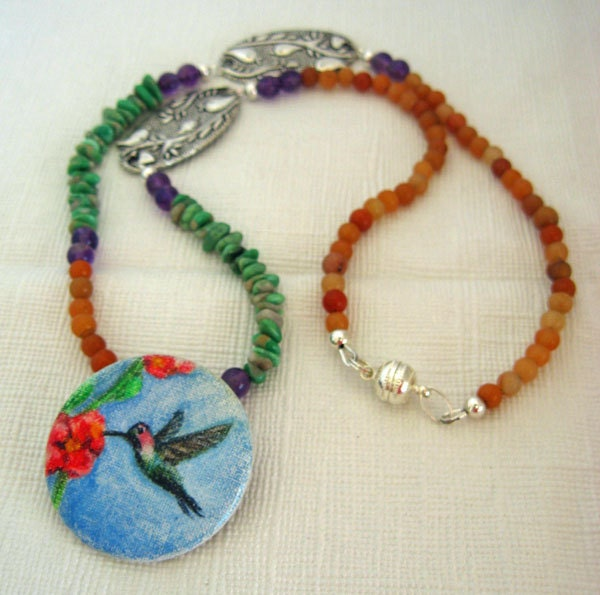 Hummingbird Pendant Necklace Spring Colors, Hand Painted Original Art Pendant, Pin or Scarf Slide