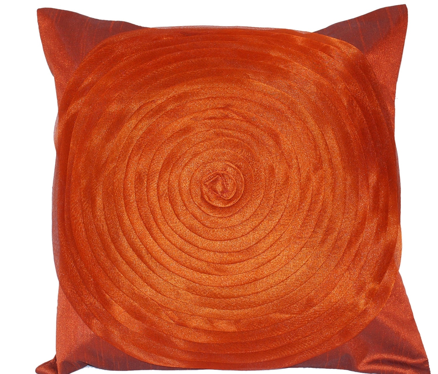 Rust Throw Pillow, Brown Throw Pillow, Ruffle Throw Pillow, Orange, Organza, Ruffles, Swirls, Copper, Autumn, Silk - 'Glam Rust Ruffles' - TheHomeCorner