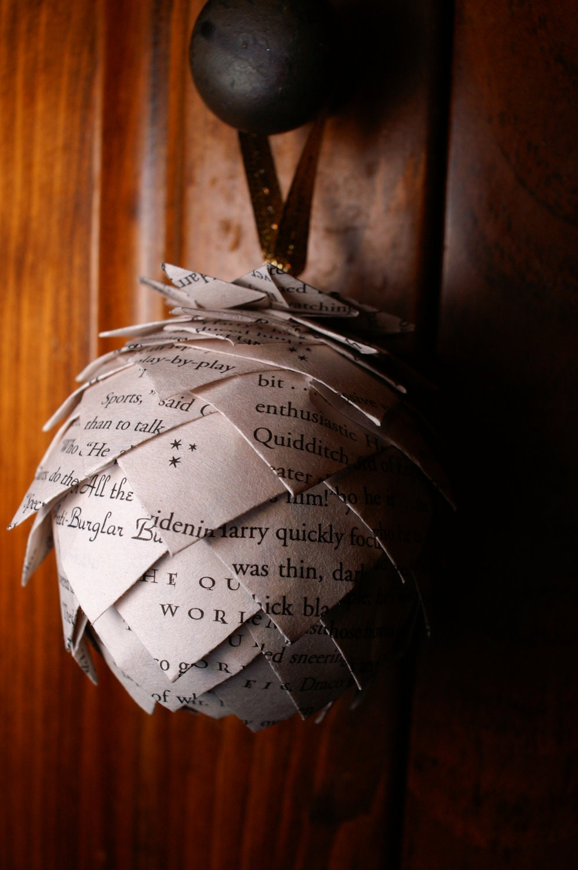 Pine Cone Christmas Ornament- Custom Harry Potter Ornament, Ornament Made From Harry Potter Book Pages