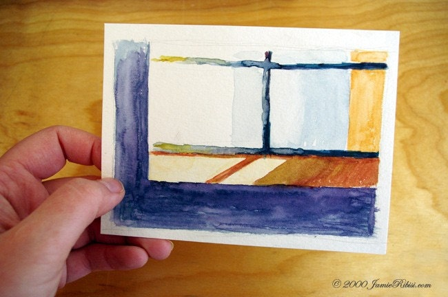 Windowsill ORIGINAL small watercolor on paper - jamieribisi