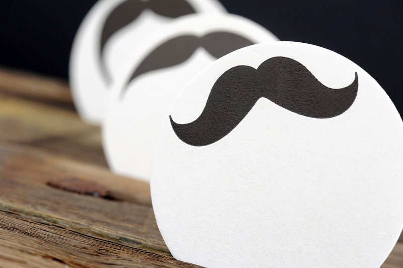 Mustache Coasters - Movember Letterpress Moustache Paper Party Coasters