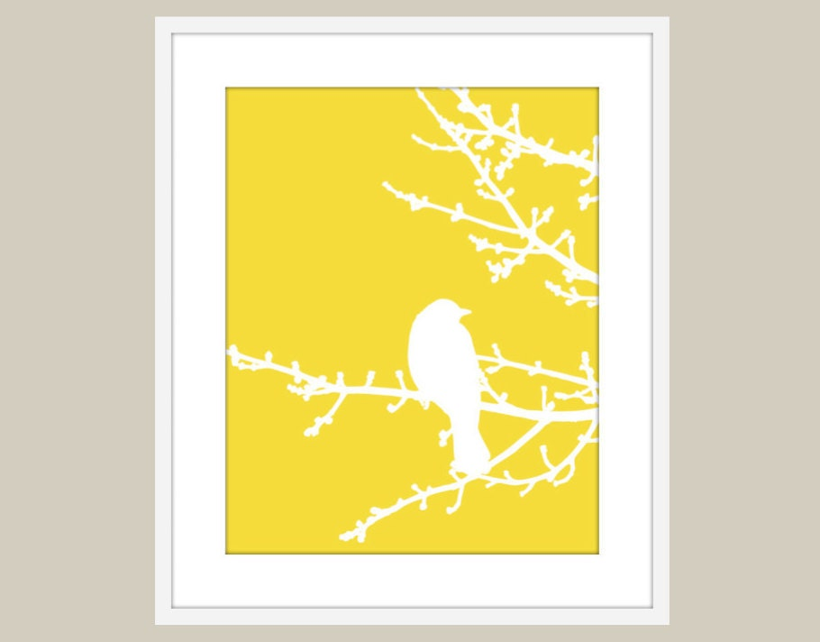 Bird on  Tree Yellow Wall Art Home Decor Modern Woodland Branches