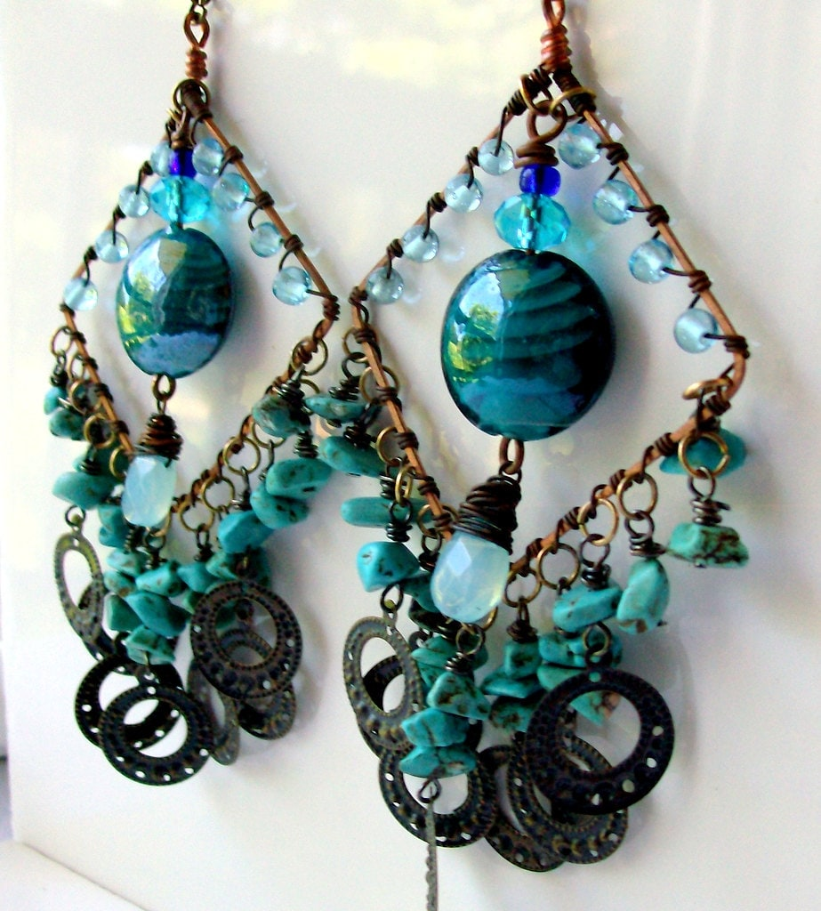 Chunky Turquoise & Copper Earrings - Bohemian - Brass - Wire Wrapped - Gypsy - stoneandbone