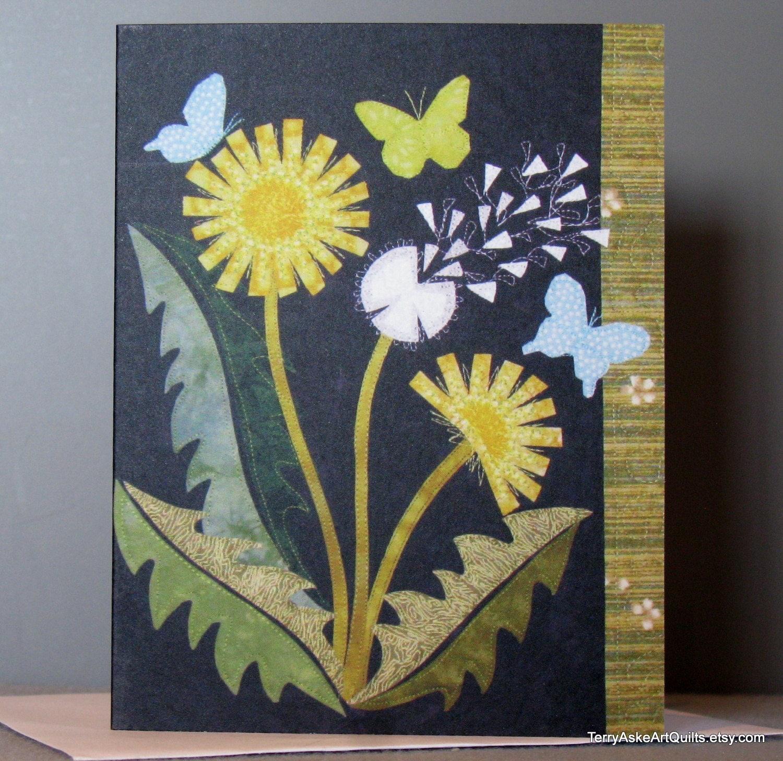 Art Quilt Note Card - Dandelion Love - TerryAskeArtQuilts