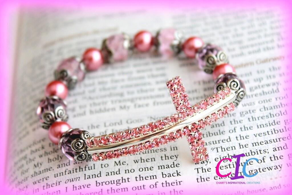 Pretty in Pink Sideways Cross Bracelet
