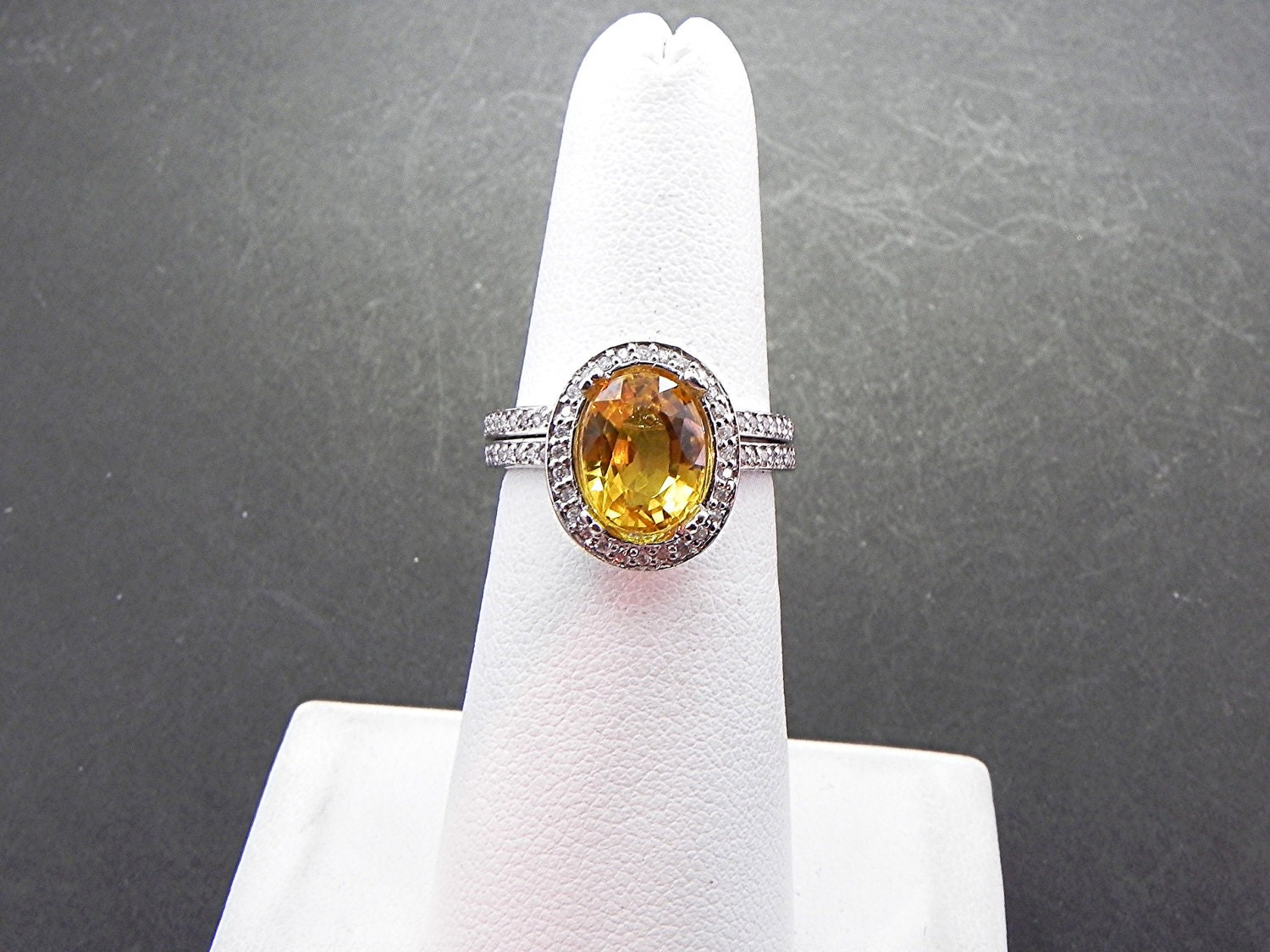 AAA 3.46 Carat 10x8mm Natural Yellow Sapphire set in 14K White gold diamond bridal set(.50ct) 0978
