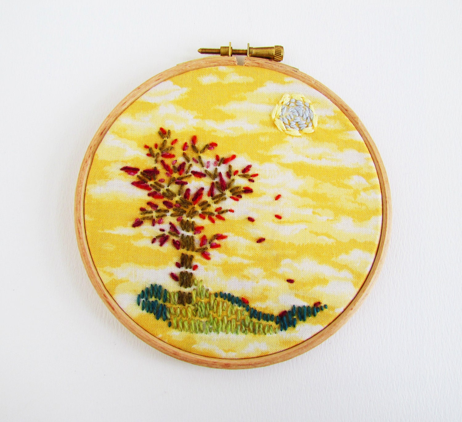 Autumnal landscape handmade embroidery in hoop - wall hanging - Fifinch