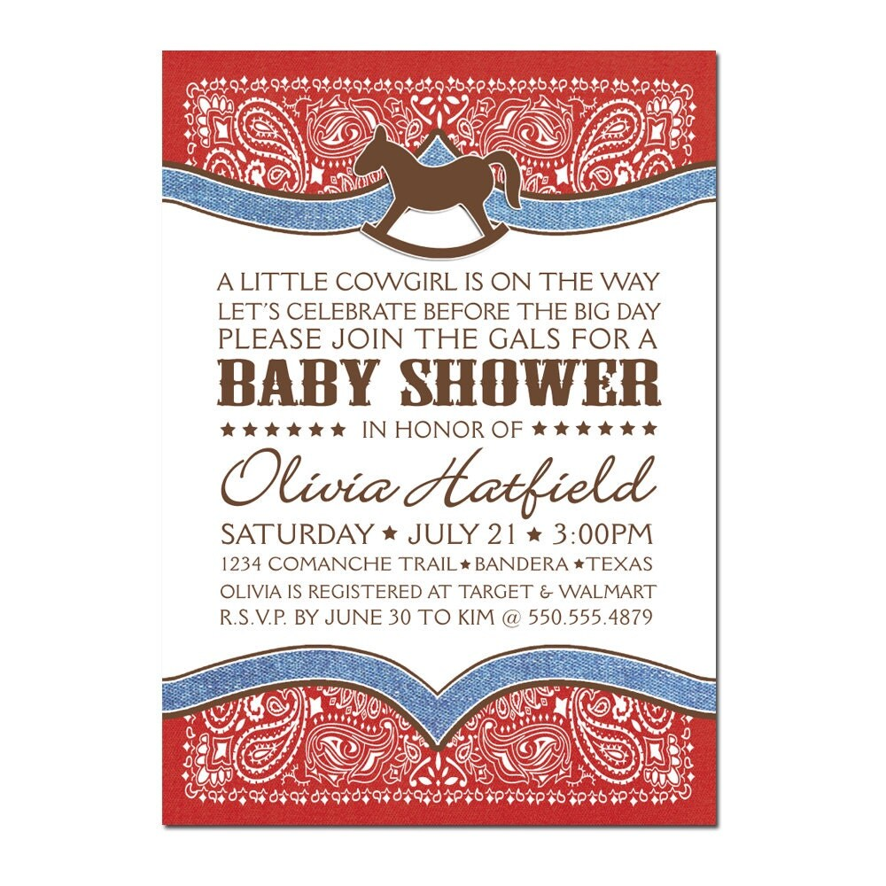cowboy theme baby shower invitations