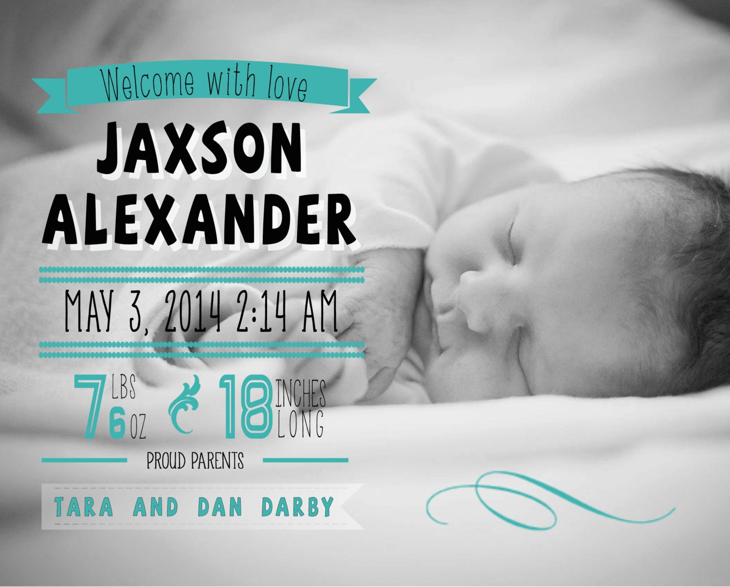 Custom Digital Baby Boy or Baby Girl Photo Birth Announcement, 5x7 PRINTABLE - BA1
