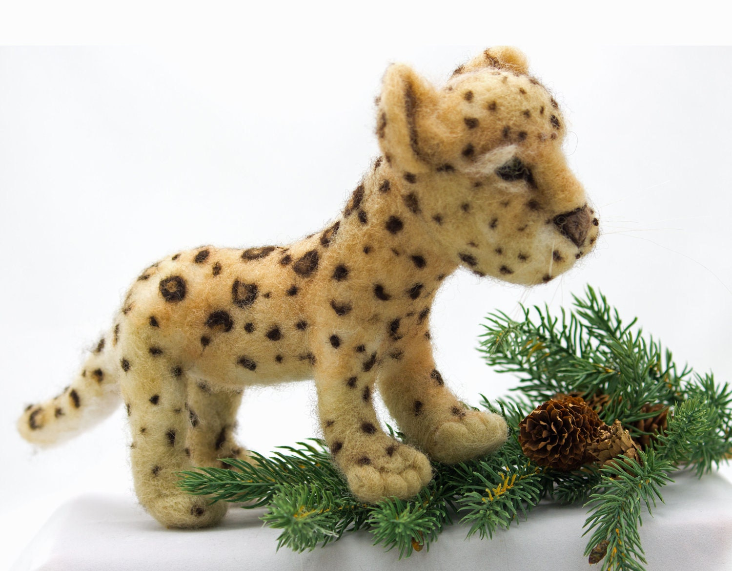 Leopard Cub Cat Needle Felted