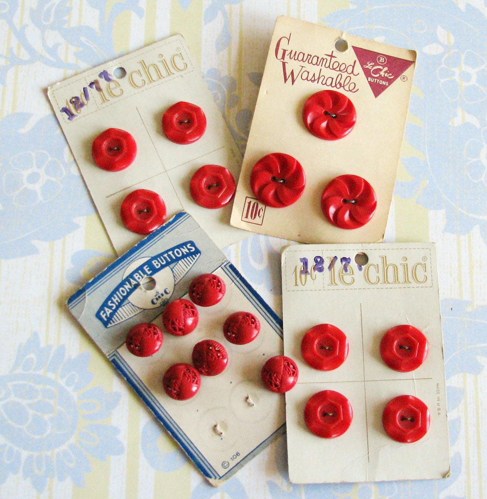 Cherries Jubilee..Sassy Vintage Red Buttons