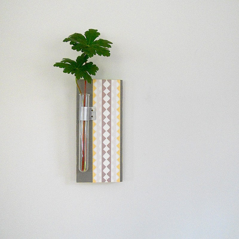 Vase l Flower Vase l Wall Vase l home decor Test Tube: TWIG wall hanging ric rac pattern yellow gray modern geometric 1901 miles