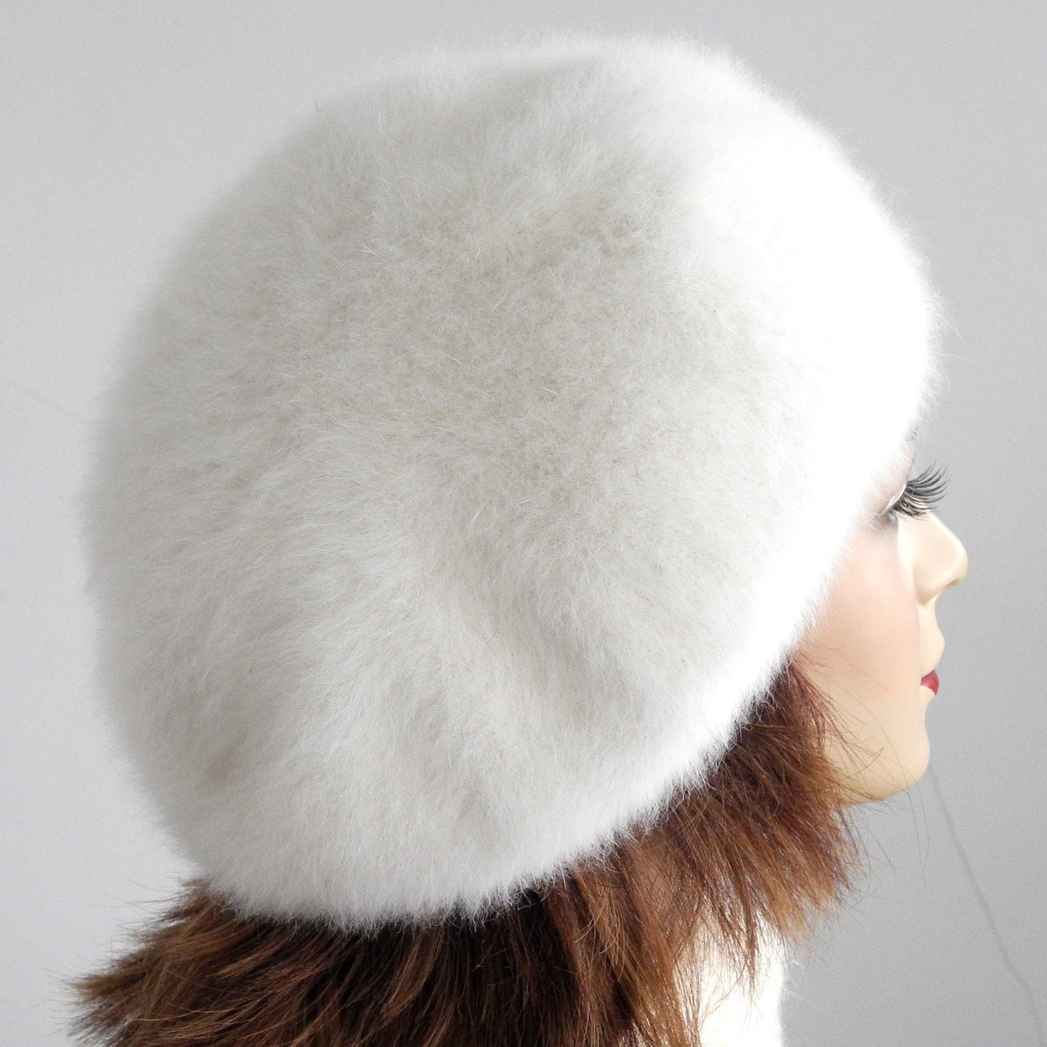 Angora Knit Beret- White Wool Hat- Fur Hat- Women- Fall Fashion- Winter Accessories