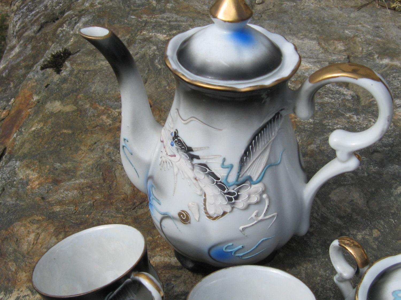 Tea Set Black Dragon Japan tea pot sugar creamer cup saucer Dragonware moriage demitasse - WhispersFromThePast