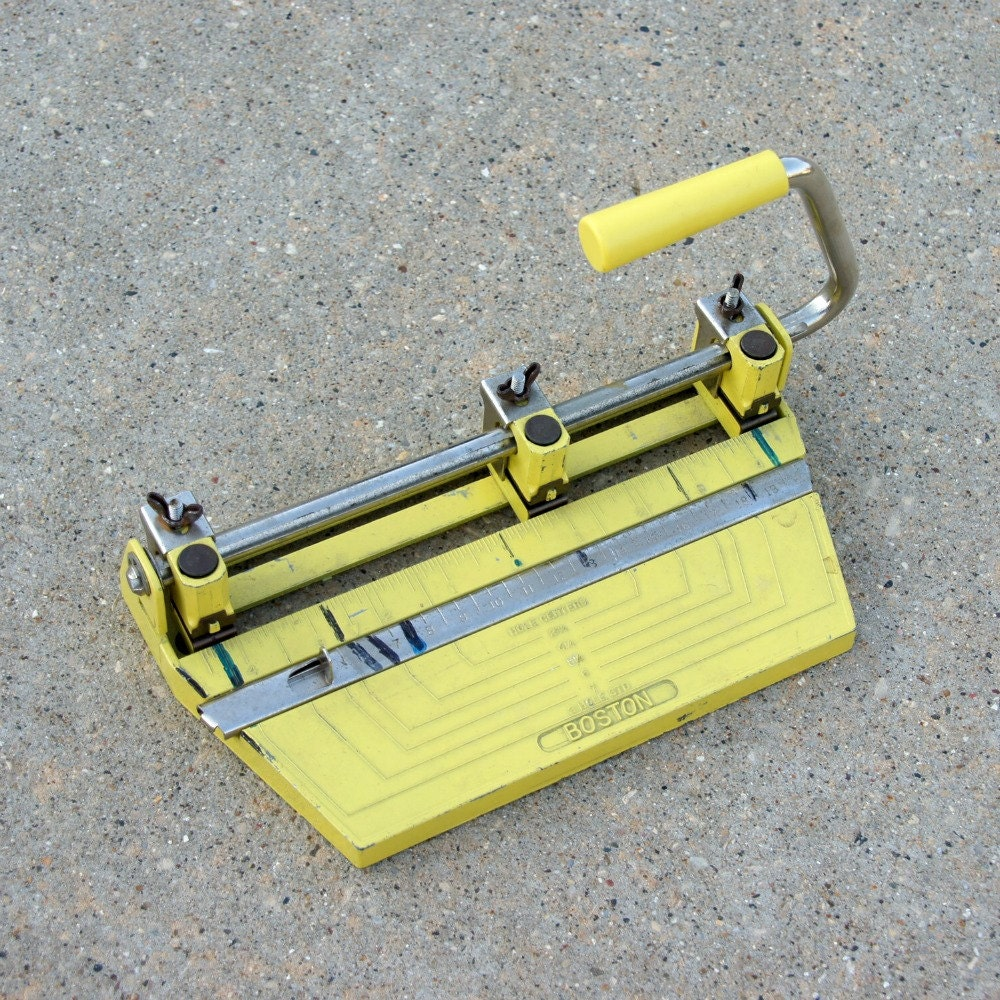 Yellow Hole Punch, Vintage Boston Office Supply, Dorm, School, Desk - SentimentalFavorites