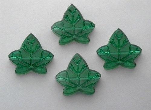 2 Swarovski Ultra Rare Vintage Emerald Leaf Pendant-Style Beads 17.5 x 15mm - Forbeaden