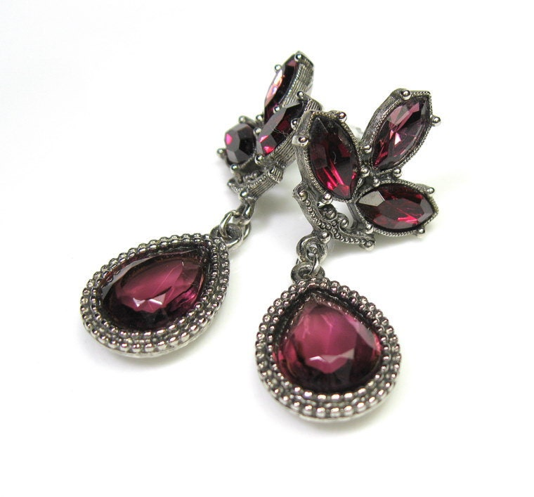 Vintage Earrings Vintage Jewelry Purple Crystal Glam Dangle
