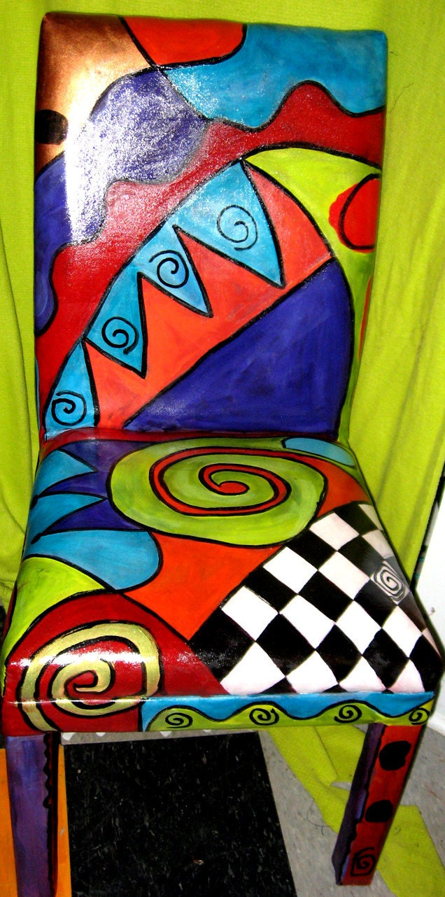 Original art Hand Painted leather Parsons chair OOAK