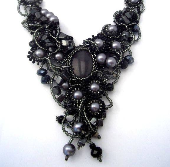 Beaded jewelry. Black Gray Grey Silver Freeform Beaded Necklace, OOAK jewelry, unique gift - ibics