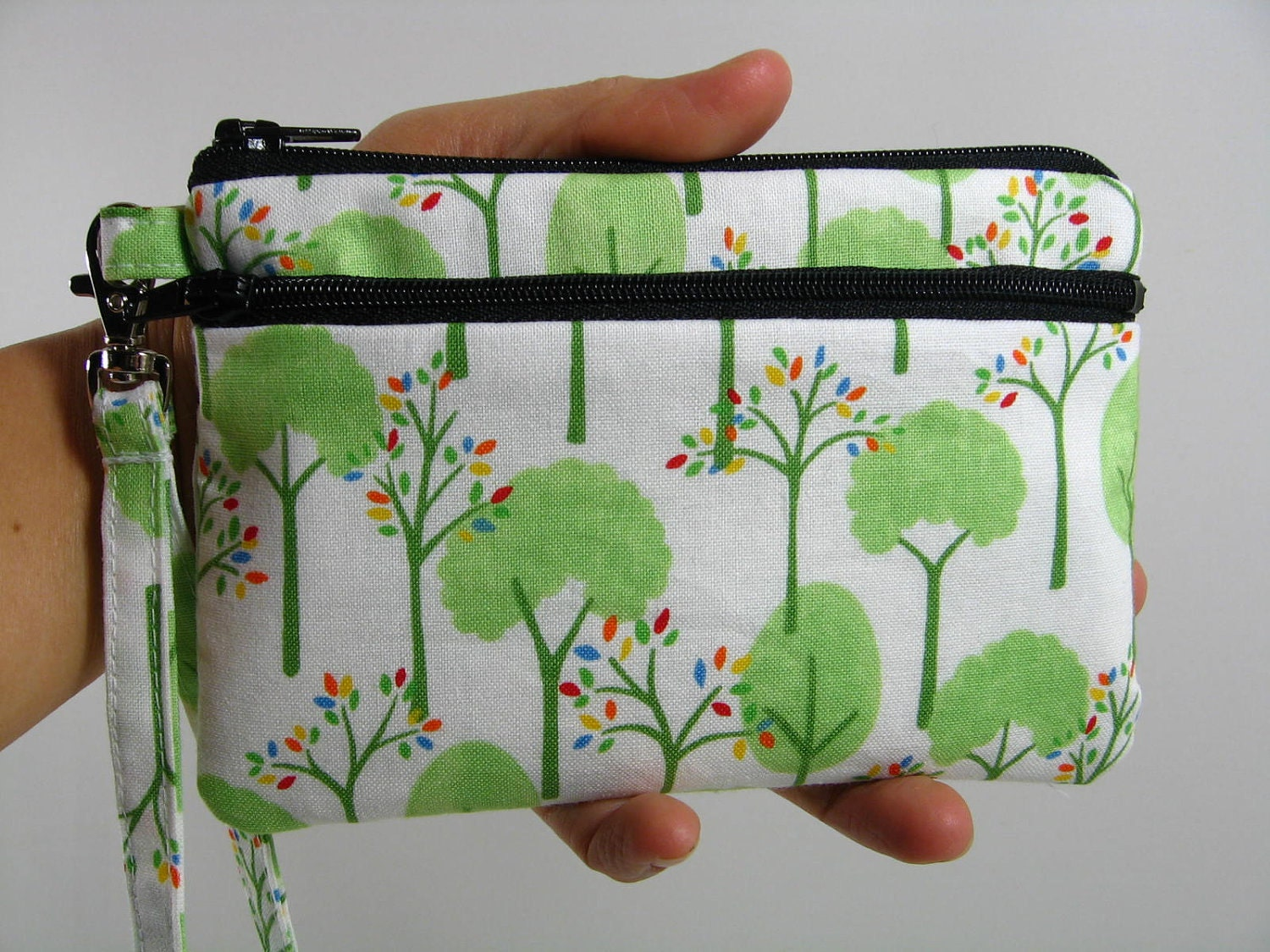 Small Wristlet-- Love U Trees Cloud White -- ID holder/Coin purse/Cell phone holder
