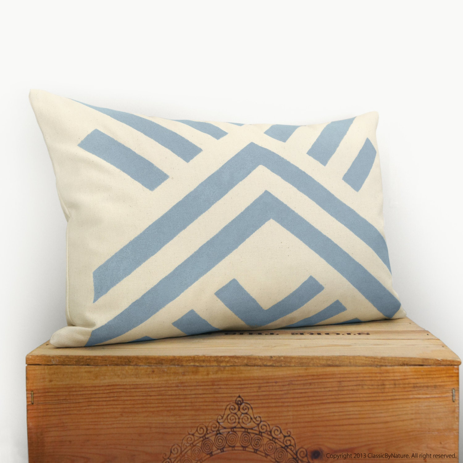 Chevron pillow - Throw pillow covers - Hand printed pillow in  dusk blue and cream with geometric design - 12x18 lumbar pillow cover - ClassicByNature