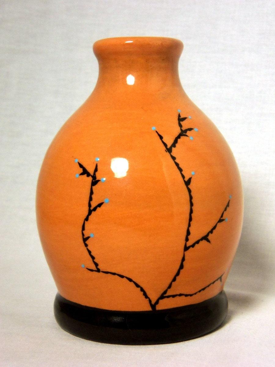 Orange Bottle Vase with Desert Shrub - AquariusPottery