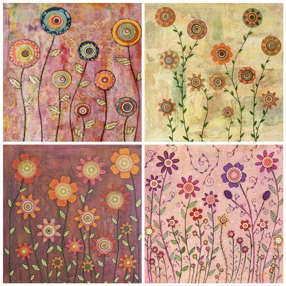 Retro Flowers Painting Art Print Set Four 5 inch by 5 Inch Prints