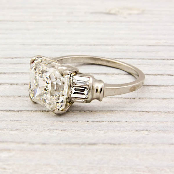 3.09 Carat Asscher Cut Diamond Art Deco Engagement Ring