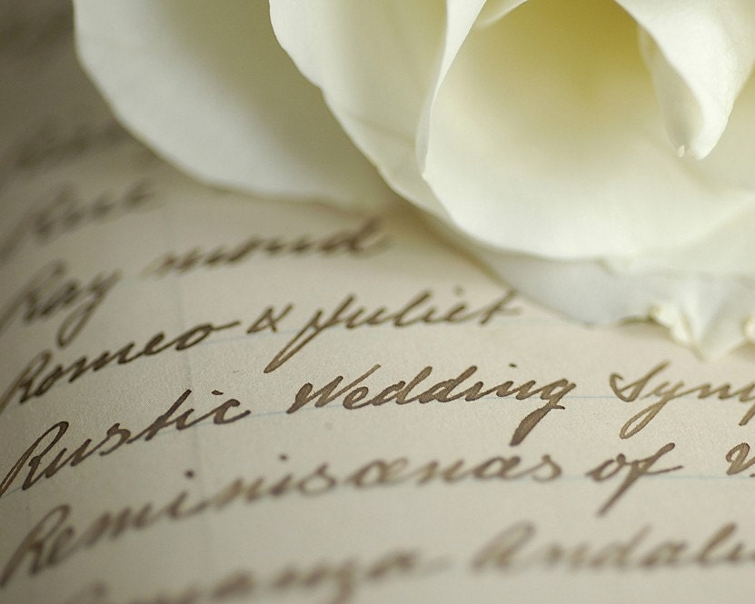 Rustic Wedding romantic white rosewriting wedding macro 8x10