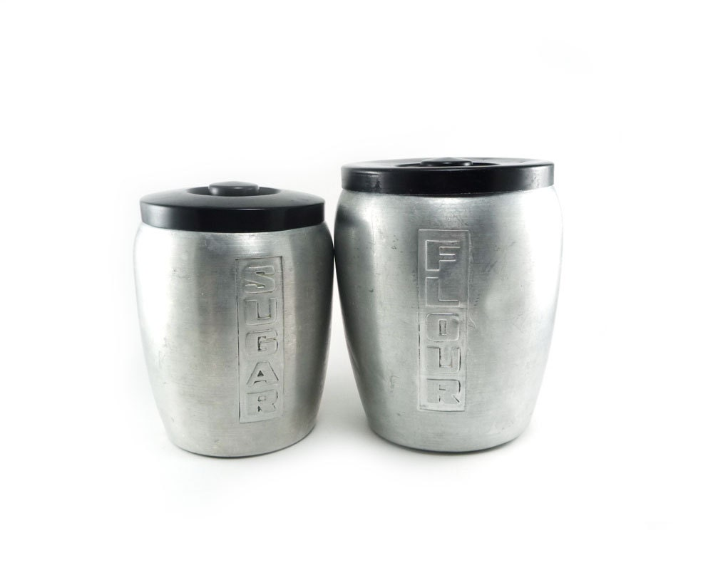 Vintage aluminum canisters - silver and black flour and sugar canisters - reconstitutions