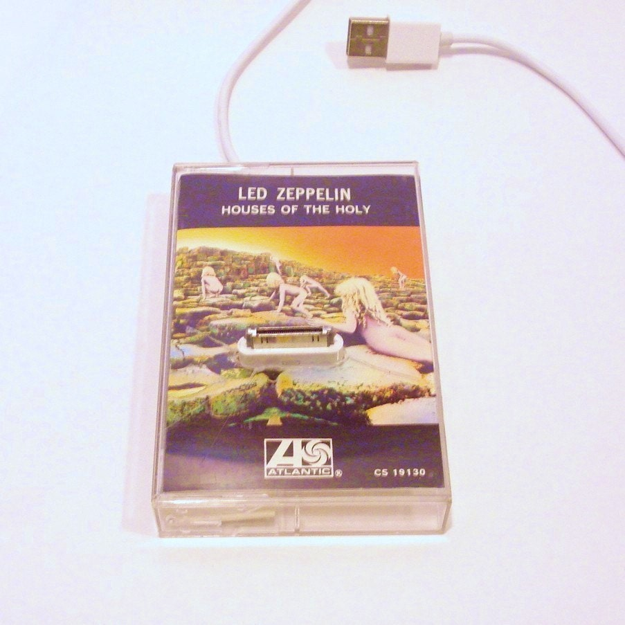 Iphone Ipod Cassette Tape Case Charging Dock Led Zeppelin Repurposed