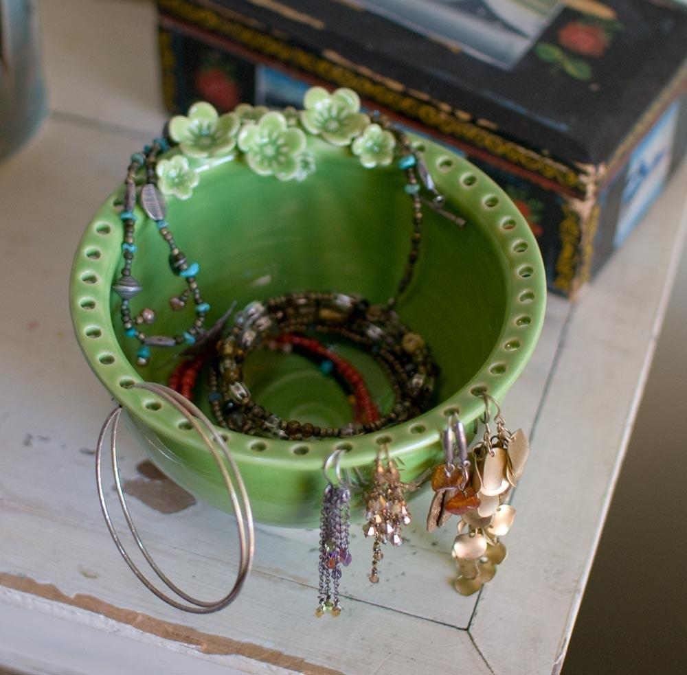 Earring Jewelry Bowl-jewelry organizer Midori Green