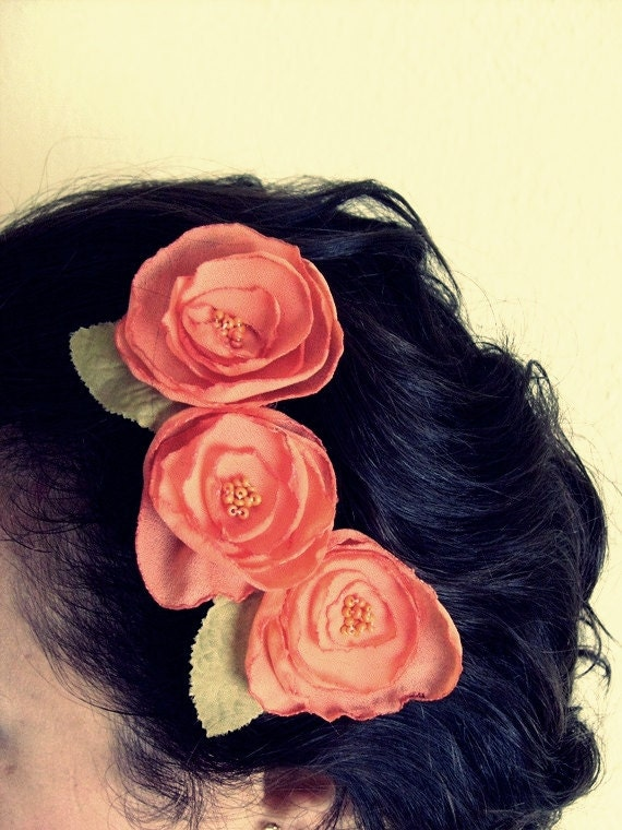 Orange Red Organza Flower  Bridesmaid Hair Comb-3 Organza poppy Flower and 2 Fall Leaves