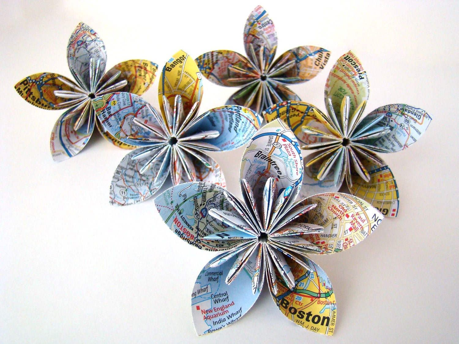 Five Petal Kusudama Flower - Recycled Map - Single Flower - OrigamiDelights