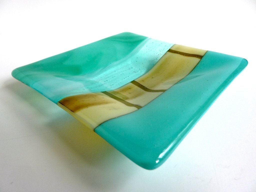 Glass Plate in Turquoise, Blue Green and French Vanilla - bprdesigns