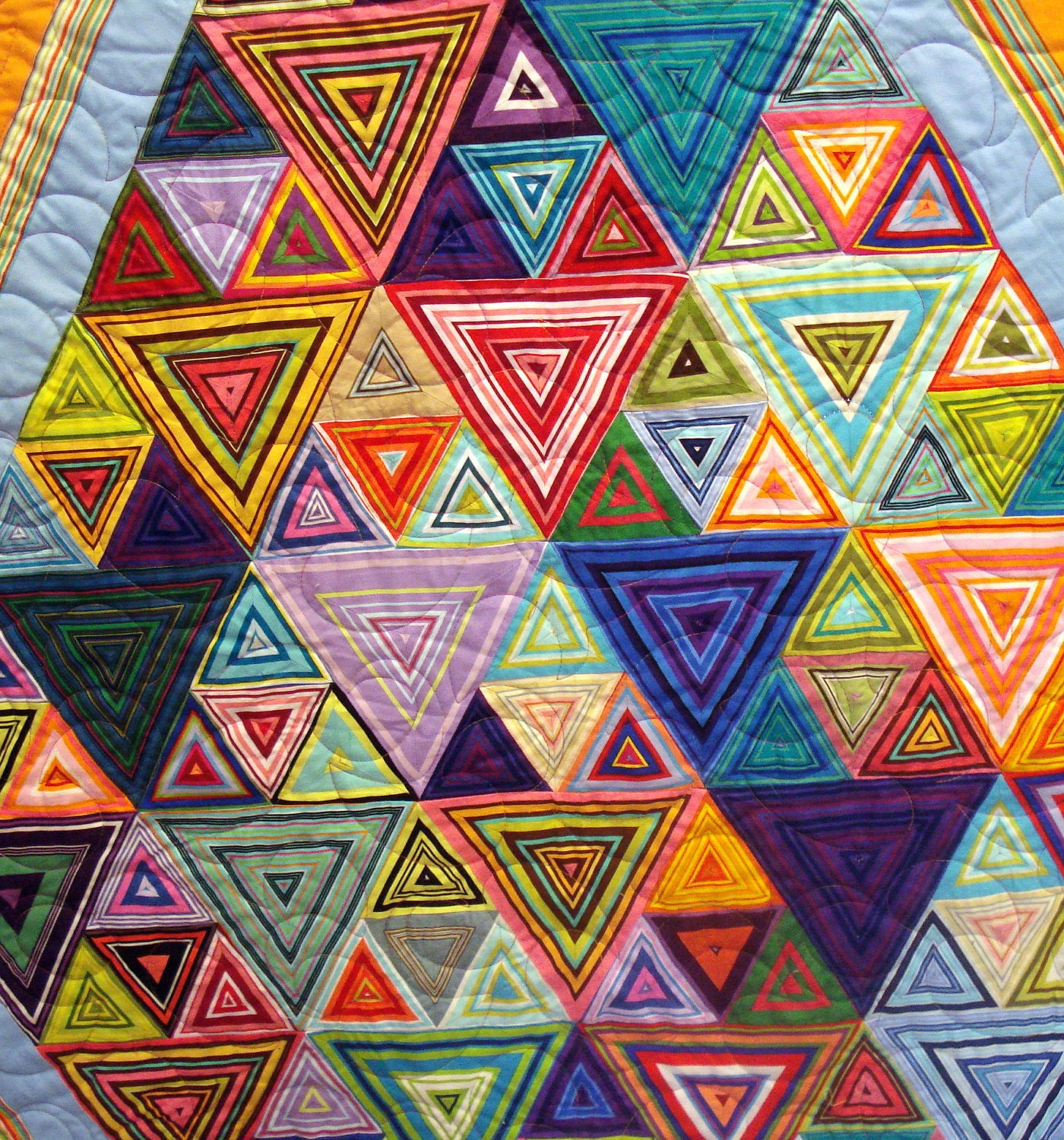 Twin Quilt In Colorful Striped Triangles - uniquelynancy