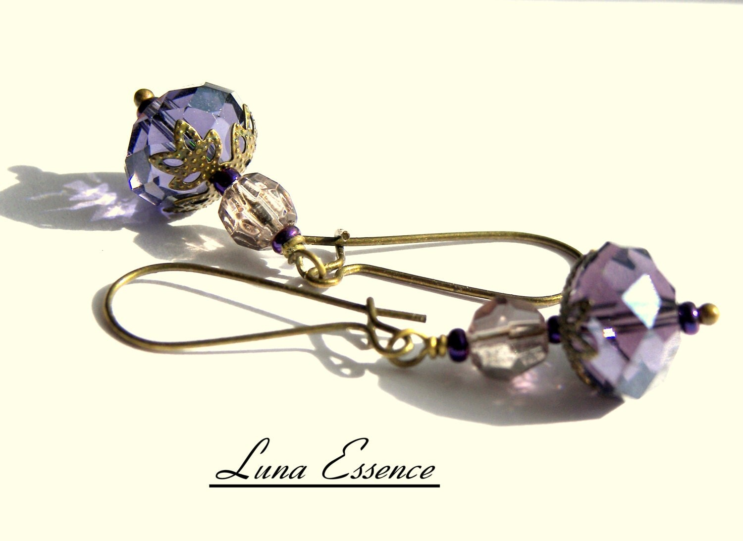 Sparkling Jewels Purple Lavender Czech Crystal Vintage Filigree Brass Earrings - LunaEssence