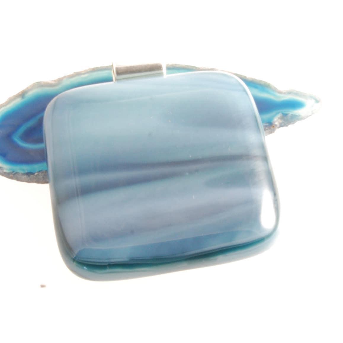 grey swirl fused glass pendant uk - bluedaisyglass