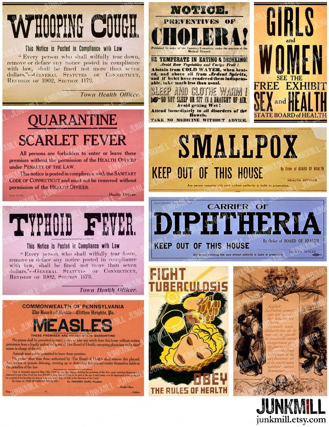 QUARANTINE - Collage Sheet - Vintage Medical Quarantine Posters, Virus Warning Labels, Keep Out Contagion, Disease Epidemic, Apothecary