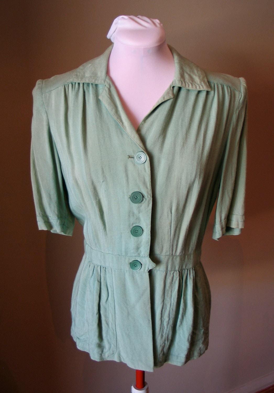 Vintage 1940s Spearmint Green Belt Backed Linen Blouse