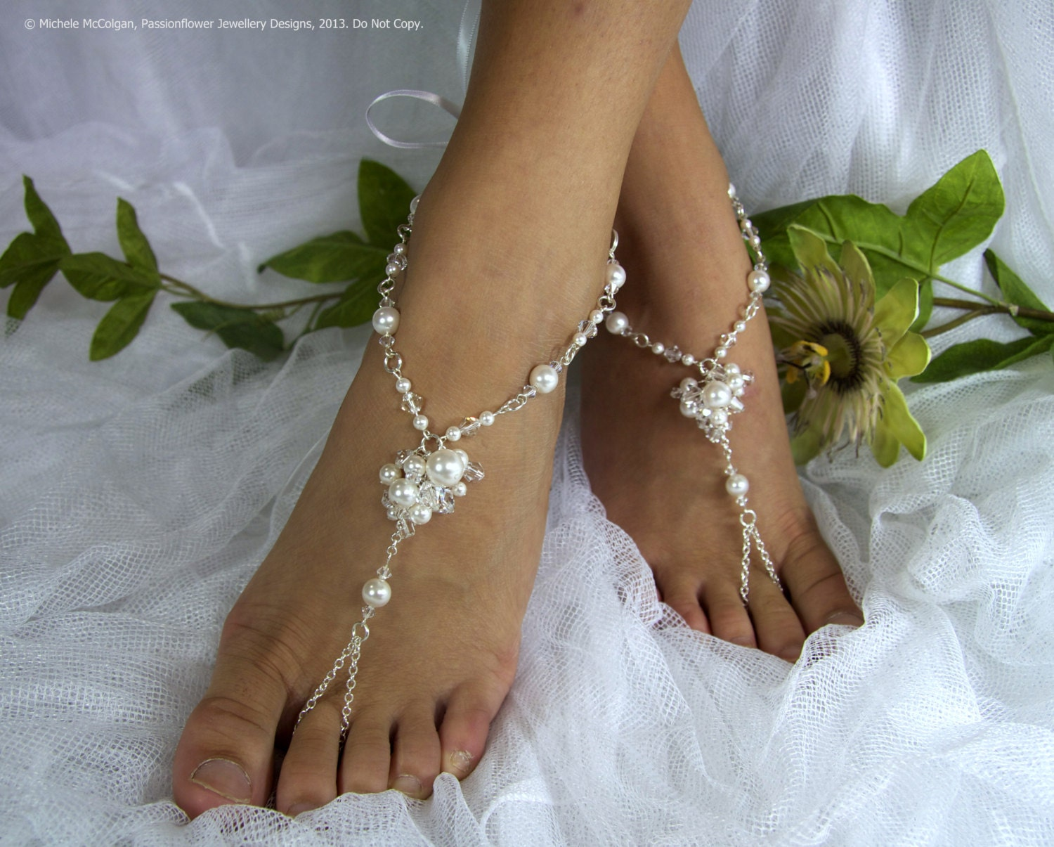 Bridal barefoot sandles, beach wedding jewelry, destination wedding foot jewellery,  bohemian shoes. JESSICA Large White & Crystal