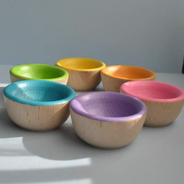 Back to School / Waldorf Toy - The ORIGINAL Bright Wooden Sorting Bowls  -  Montessori Toy / christmasinjuly - TheEnchantedCupboard