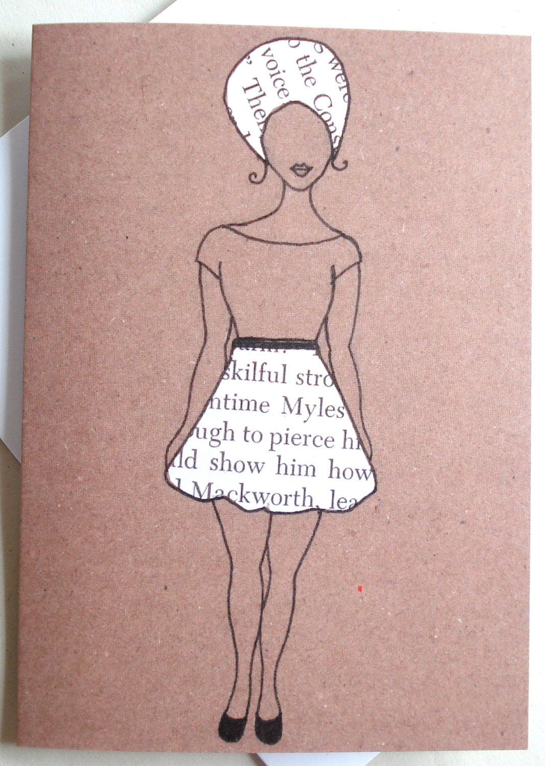 Printed African American Greeting Card 'Word Skirt'