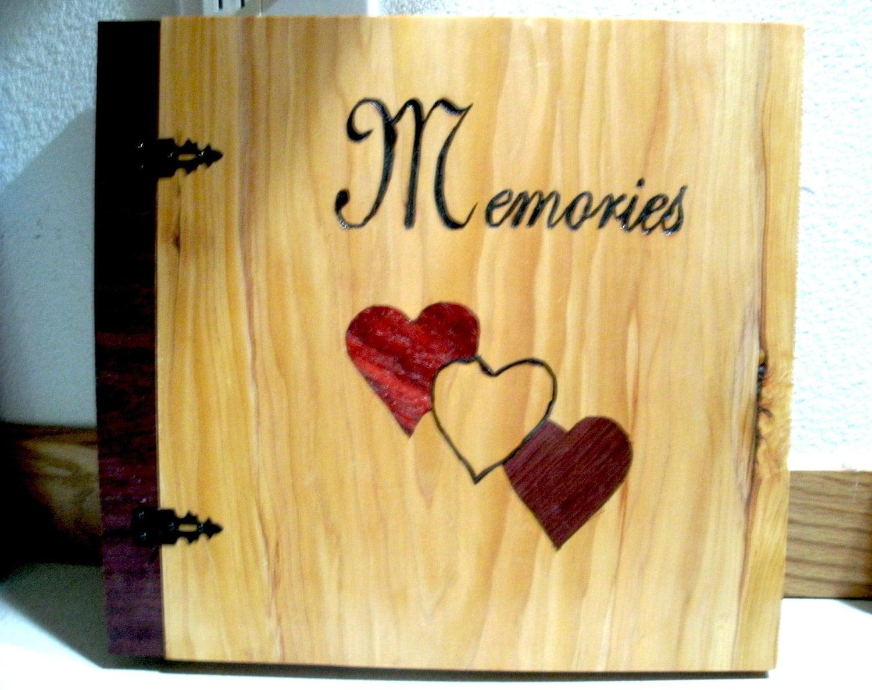 """Wood Inlay """"Memories"""" Scrapbook / Photo Album - 12"""" x 12"""""""