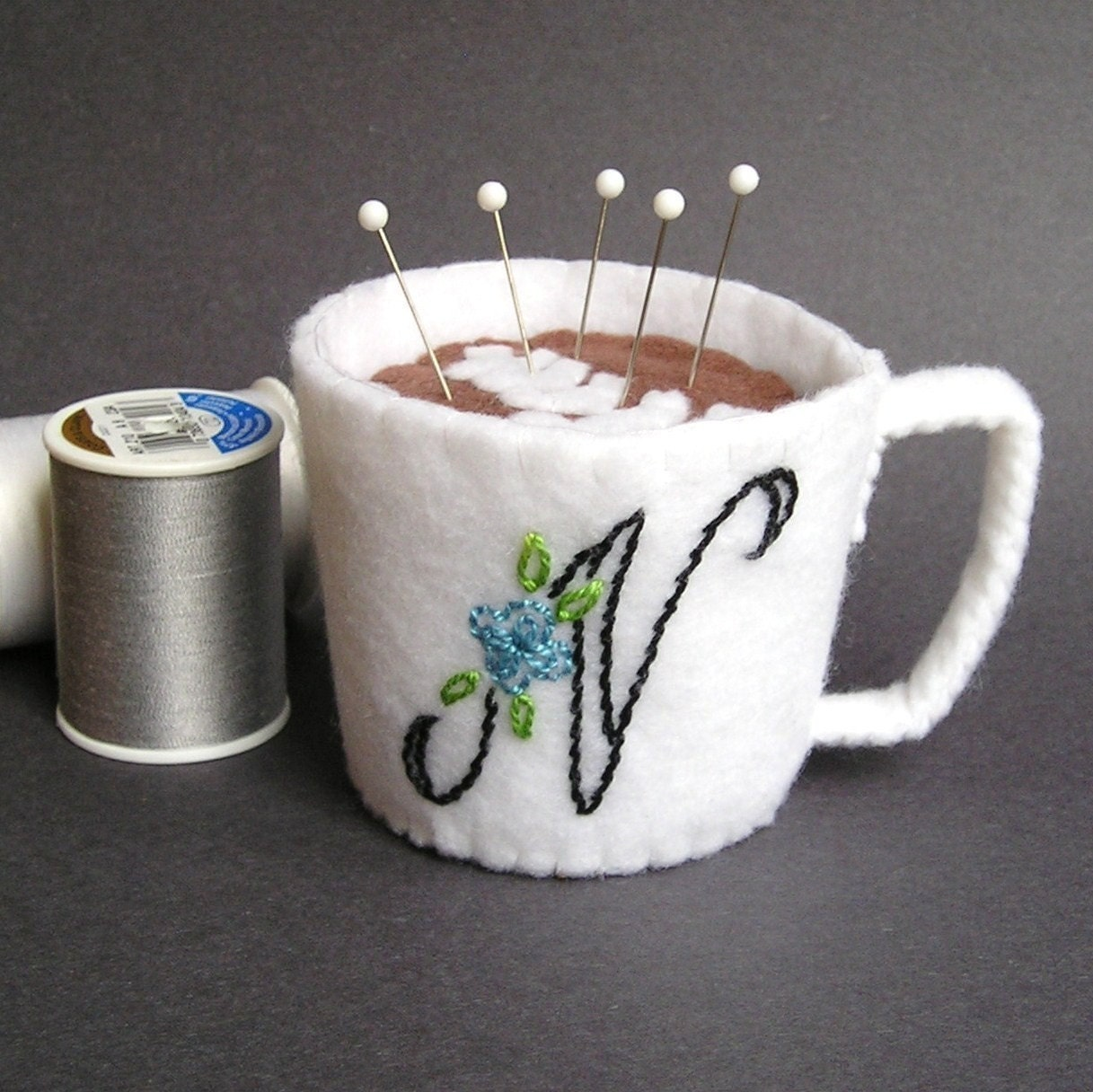 Emery Pincushion / Pin Cushion -  Felt Cup of Cafe Latte / Coffee -  Personalized Monogram