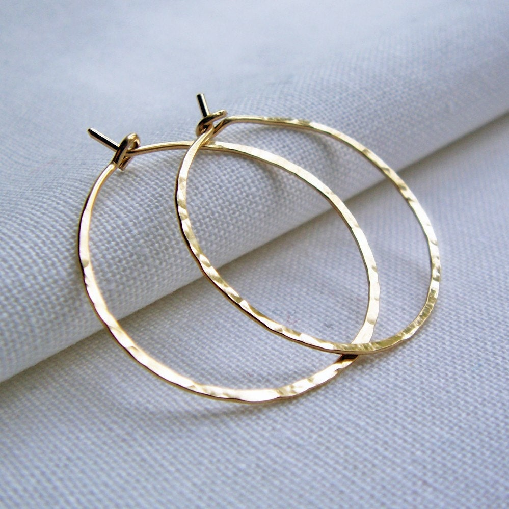 14KT Gold filled Hoops - Hammered 1 inch Medium Simple Classic - BeadinByTheSea