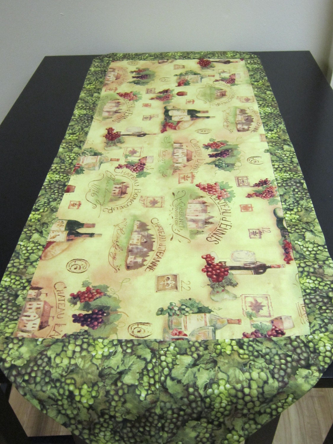 Wine Fabric Quilted Table Runner