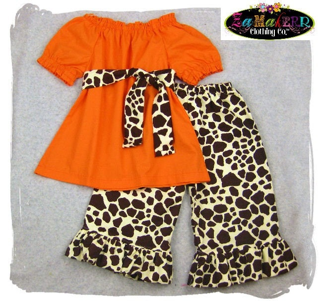 Custom Children Boutique Unique Handmade Cute Little Newborn Infant Toddler Baby Girl Clothes Clothing Orange Peasant Tunic Dress Top w/ Sash Matching Brown Giraffe Ruffle Pant Bottom Outfit Set 3 6 9 12 18 24 month size 2T 2 3T 3 4T 4 5T 5 6 7 8