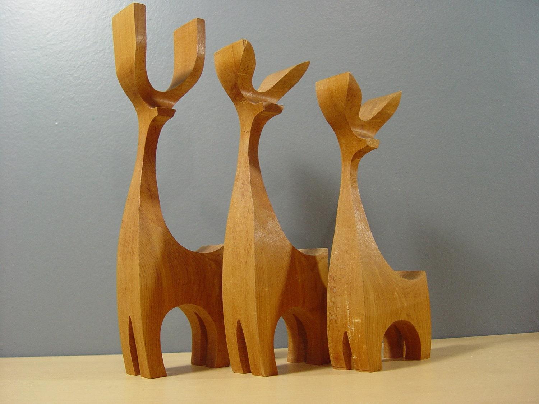 1950s Vintage Mid Century Scandinavian Hand Carved Figurines - LocalRetro