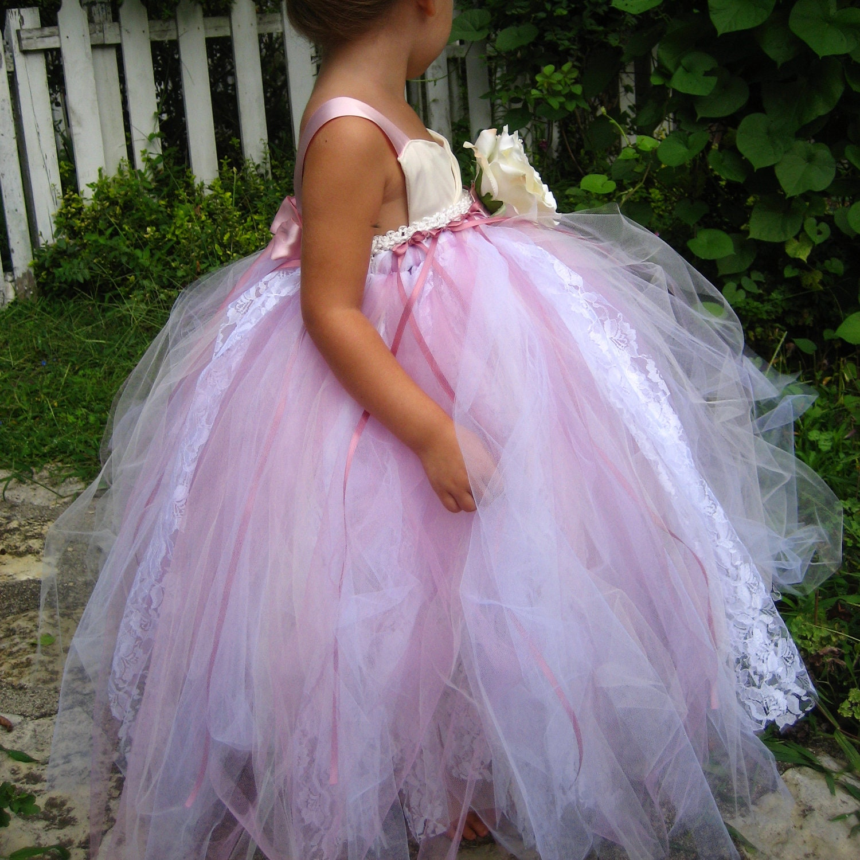 Pink Tulle Flower Girl Dress sizes 6 9 by sahmom2threegirls